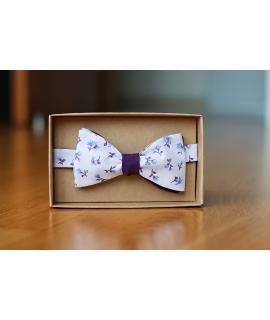 Oboustranný motýlek fialkový květovaný/fialový