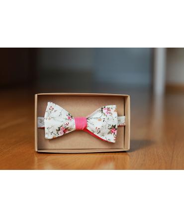 Oboustranný motýlek smetanový květ/jahodová
