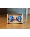 Oboustranný motýlek modrý květovaný/oranžový