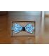 Oboustranný motýlek modrý květ/tmavomodrý