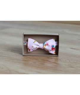 Pánský vázací motýlek růžový květovaný